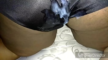 Cum on Juicy Lucys silky black panties