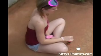 I love blowing bubbles in my tiny little miniskirt