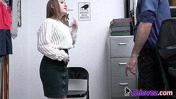 Alice is getting roughly fucked in the security office table by a horny officer.