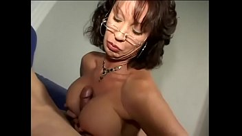 Wicked brunette female in dark red lingerie Vanessa Videl got her big bazookas creamed after nasty blowjob
