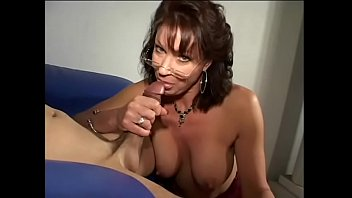 Wicked brunette female in dark red lingerie Vanessa Videl got her big bazookas creamed after nasty blowjob