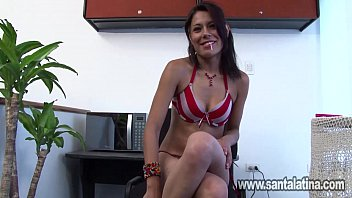 Sweet girl masturbated in the office