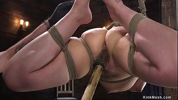 Slave in hogtie suspension gets toyed