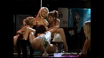 Hot bitches lick and fuck in all girl 3some in strip club