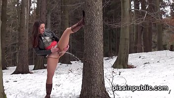 Public les piss Girls in need skate around in the snow to find a proper place to have a pee