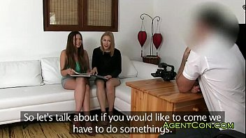 Fakeagent with two hot girls on sofa