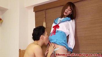 Uniformed japanese tgirl banged after blowjob