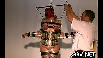Forced xxx sex sites - Bulky female tied up and forced to endure sadomasochism xxx