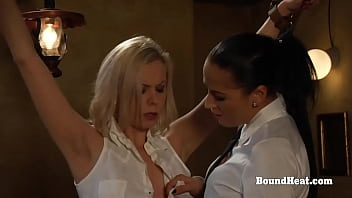 Handcuffed Blonde Lesbian Slave Undressed By Dominant Madame