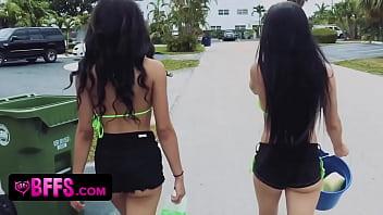 Big tit bikini car wash teen party