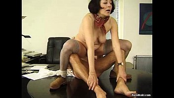 Homemade mature hairy older women Granny office fucking