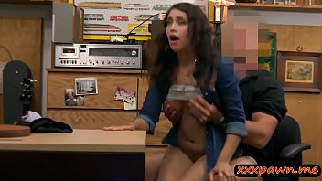 Brunette woman screwed by pawn keeper in his pawnshop
