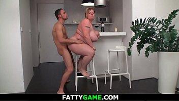 Busty big belly fatty seduces a stranger