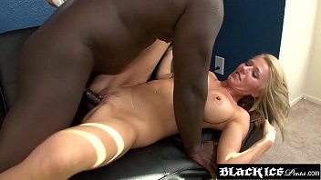 Busty blonde babe interracially fucked and blasted with cum