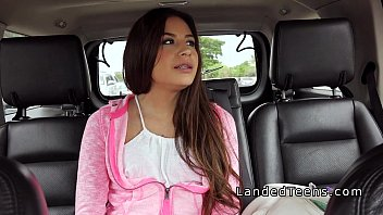 Small tits teen fucks in car on the public road
