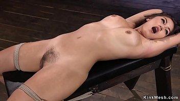 Hairy Asian beauty whipped in hogtie 5 min