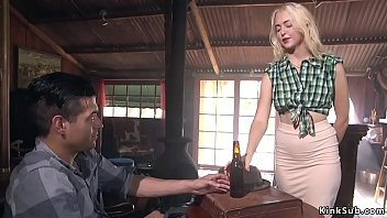 Blonde bartender anal fucked in saloon thumbnail