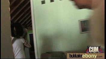 Ebony in a huge bukkake 18