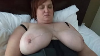 Wife with 40h cups. Toying her clit and cock in her.
