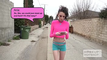 Skinny fuckdoll Aria Haze gets destroyed by Hookup Hotshot 15 min