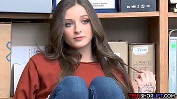 Blue eyed brunette teen thief got caught by a mall cop porno izle