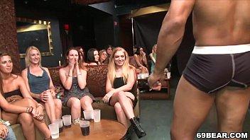 Sexy ladies suck male stripper's dick