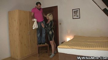 Blonde old b. seduces her son-in-law