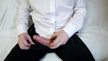 Office Guy In White Shirt Masturbates Big Cock, Oh My God, Male Orgasm Without Hands