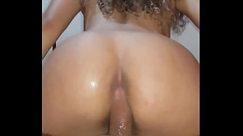 Hot wife masturbating with stick jammed in the ass