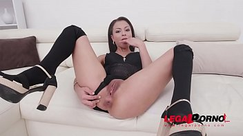 Polly Petrova eats anal creampies after balls deep DAP with 0% pussy SZ2350