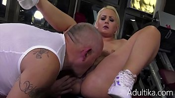Blonde Babe In Gym Fucked By Old Pervert-Anina Silk