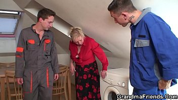 Two repairmen fuck busty granny till cum