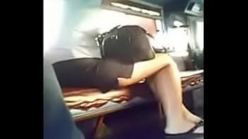 Asian upskirt bus Boso sa sa jeep bank teller