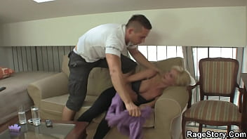 Blonde wife is sucking and riding his cock