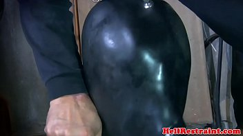 Breathing breast stroke Breath play hooded sub fucked