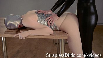 Strapon fucking in spandex catsuit video