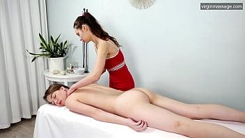 Big tits brunette Russian babe Nevet Nikolet gets massaged