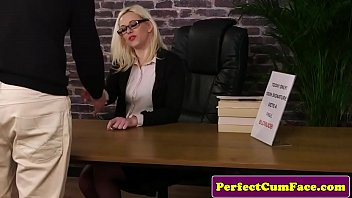 Spex Britt wanks cock and cleans facial load