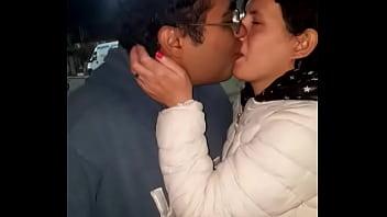 Hot brunette kisses an amateur latina