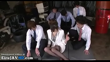 Beautiful Japanese in stockings gets creamed