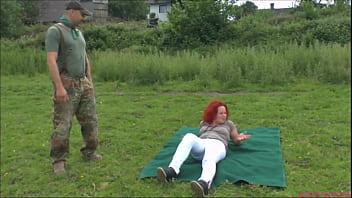 Sexy chubby red head fuck public in the cottage with stranger