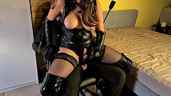 Tied Up & Gagged Slave Painfully Denied By Cruel Leather Dominatrix