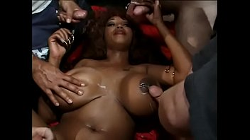 Mila gang bang - Amazing busty black whore mila gets her pussy banged hard by many dicks