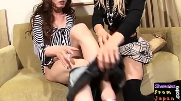 Asian shemales enjoy lesbian twosome