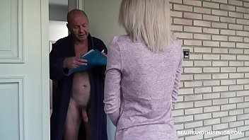 Old grandpa gets horny and fucks the delivery girl