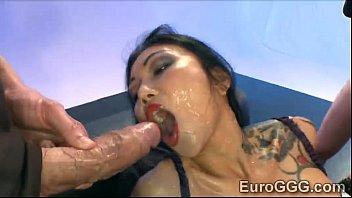 Tattooed Asian whore is d. in nasty gang bang