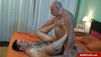 Mature gay cock clips - Horny daddy bear barebacking