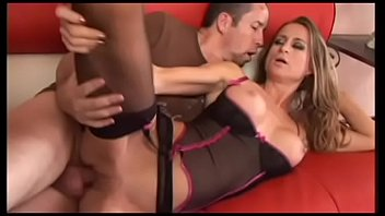 Sexy babe in stockings Honey West loves to take hard dick in her twat from the back