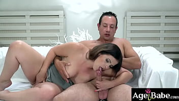 Hot young granny Montse gets her bare pussy licked before Rob pounds her