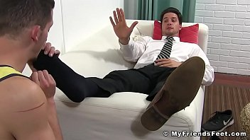 Classy young stud toe sucked by his foot fetish friend